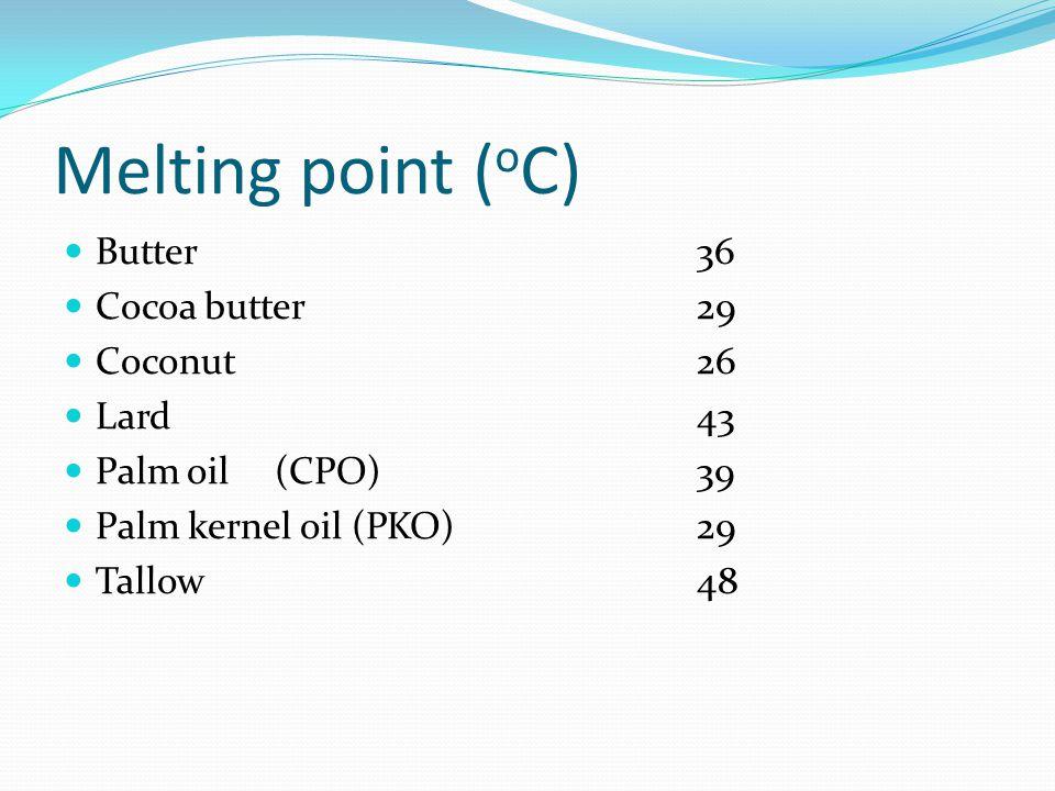Melting point ( o C) Shortenings (cake)48-51 Margarine (table)37-38 Margarine (cake)46 Margarine (pastry)50 - 51