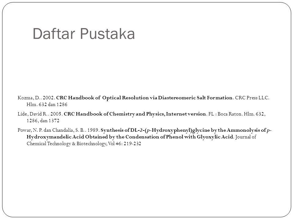 Daftar Pustaka Kozma, D.. 2002. CRC Handbook of Optical Resolution via Diastereomeric Salt Formation. CRC Press LLC. Hlm. 632 dan 1286 Lide, David R..