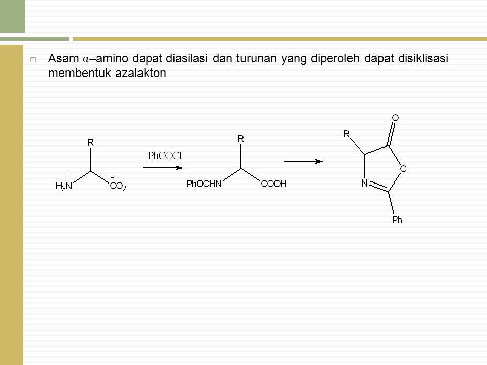  Asam α –amino dapat diasilasi dan turunan yang diperoleh dapat disiklisasi membentuk azalakton