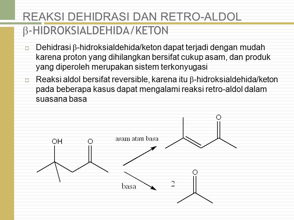 REAKSI DEHIDRASI DAN RETRO-ALDOL β -HIDROKSIALDEHIDA/KETON  Dehidrasi β -hidroksialdehida/keton dapat terjadi dengan mudah karena proton yang dihilan
