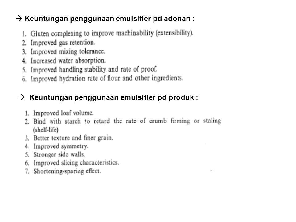  Keuntungan penggunaan emulsifier pd adonan :  Keuntungan penggunaan emulsifier pd produk :