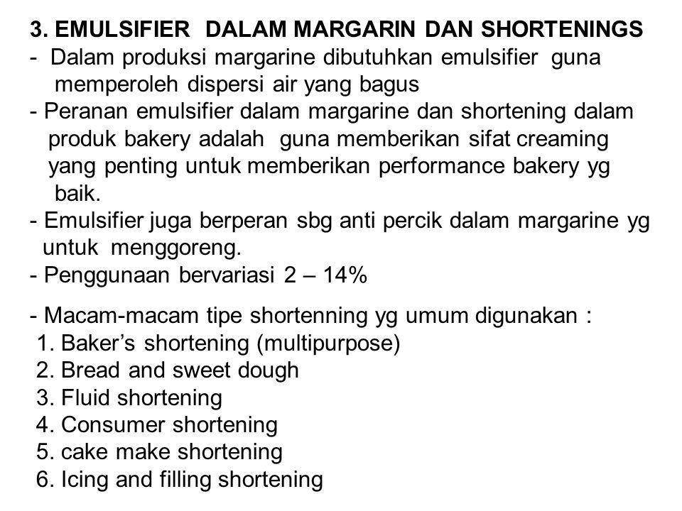 3. EMULSIFIER DALAM MARGARIN DAN SHORTENINGS - Dalam produksi margarine dibutuhkan emulsifier guna memperoleh dispersi air yang bagus - Peranan emulsi