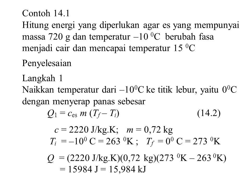 Contoh 14.1 Hitung energi yang diperlukan agar es yang mempunyai massa 720 g dan temperatur –10 0 C berubah fasa menjadi cair dan mencapai temperatur