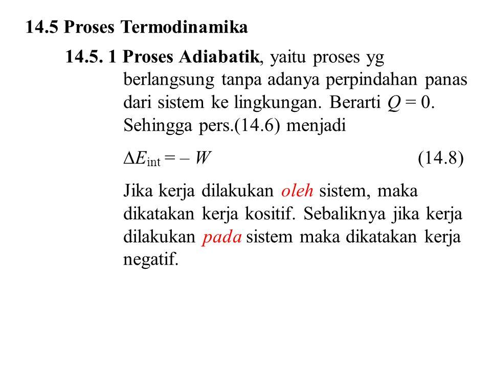 14.5 Proses Termodinamika 14.5. 1 Proses Adiabatik, yaitu proses yg berlangsung tanpa adanya perpindahan panas dari sistem ke lingkungan. Berarti Q =