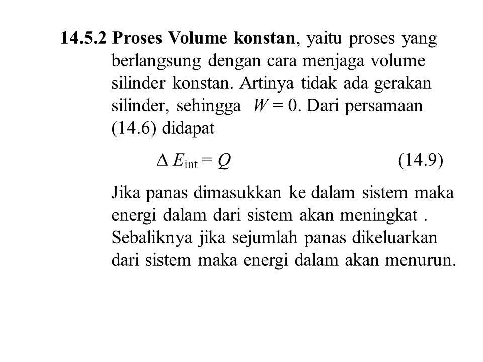 14.5.2 Proses Volume konstan, yaitu proses yang berlangsung dengan cara menjaga volume silinder konstan. Artinya tidak ada gerakan silinder, sehingga