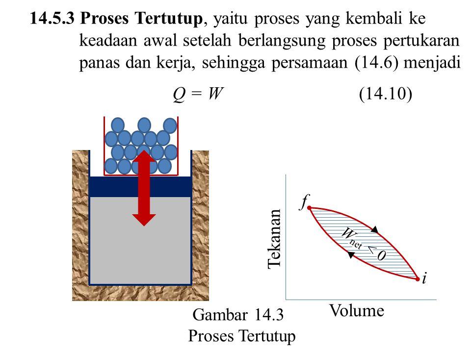 14.5.3 Proses Tertutup, yaitu proses yang kembali ke keadaan awal setelah berlangsung proses pertukaran panas dan kerja, sehingga persamaan (14.6) men
