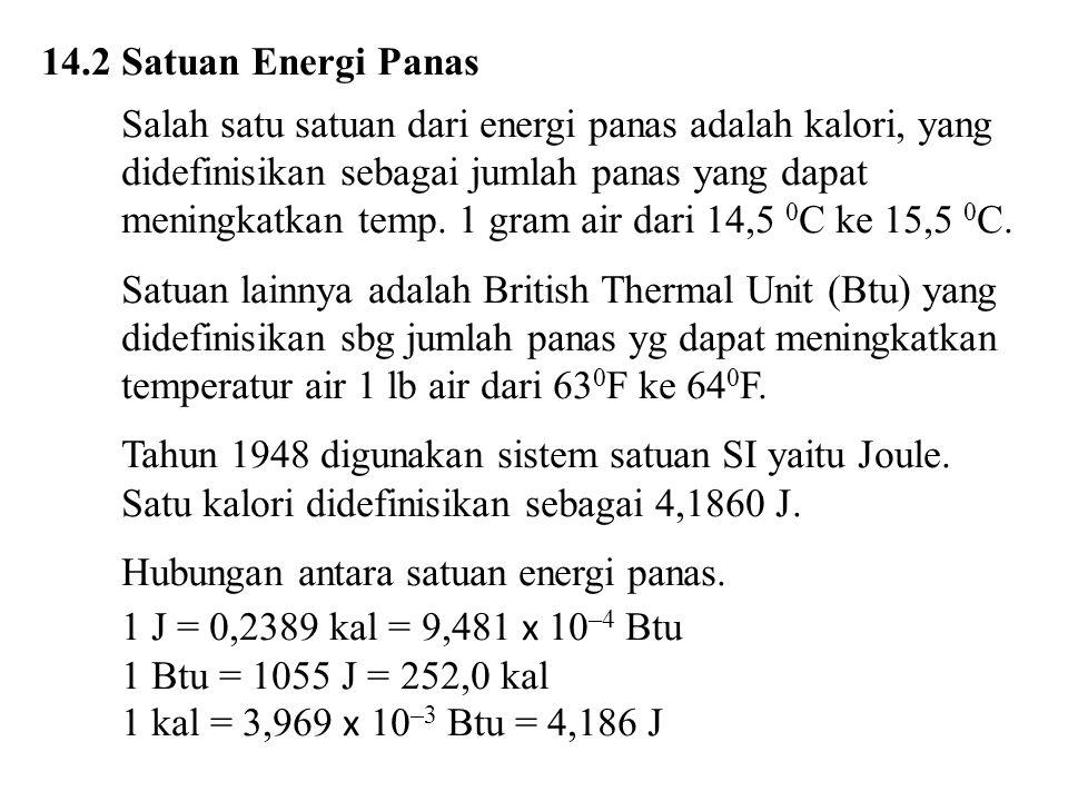 14.4 Hukum I Termodinam ika  Perubahan energi dalam pada sistem tertutup sama dengan panas yang ditambahkan ke dalam sistem dikurangi kerja yang dilakukan oleh sistem .