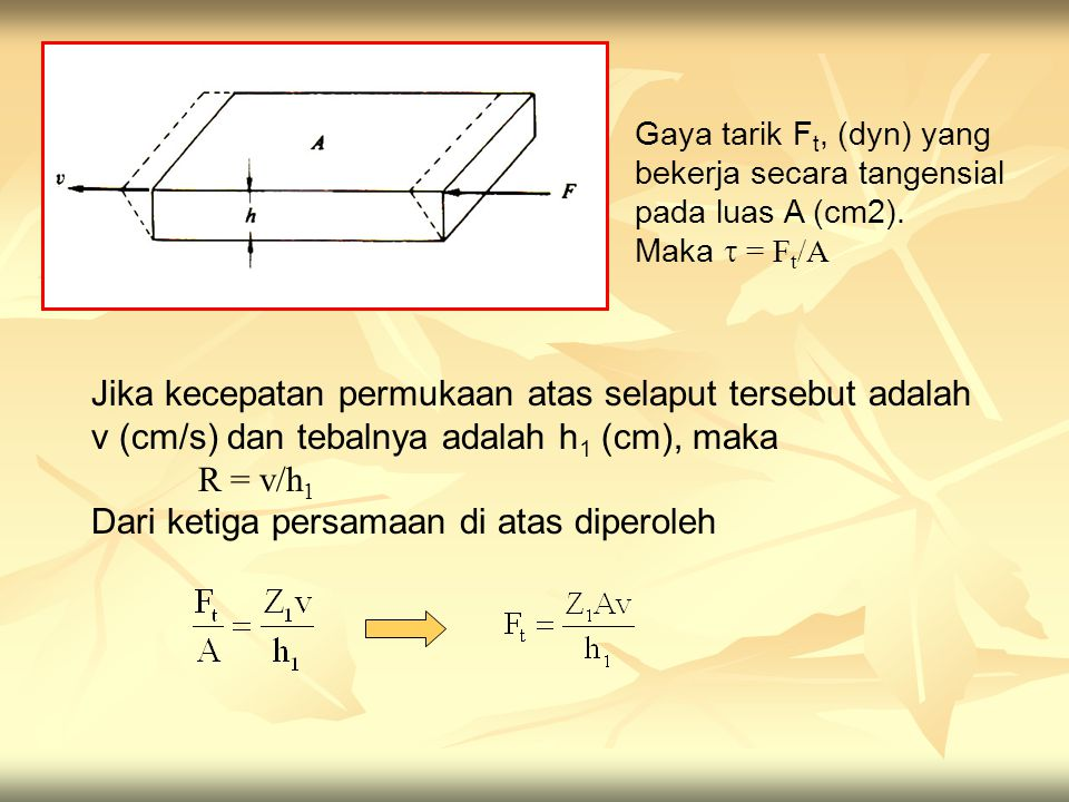 Gaya tarik F t, (dyn) yang bekerja secara tangensial pada luas A (cm2). Maka  = F t /A Jika kecepatan permukaan atas selaput tersebut adalah v (cm/s)