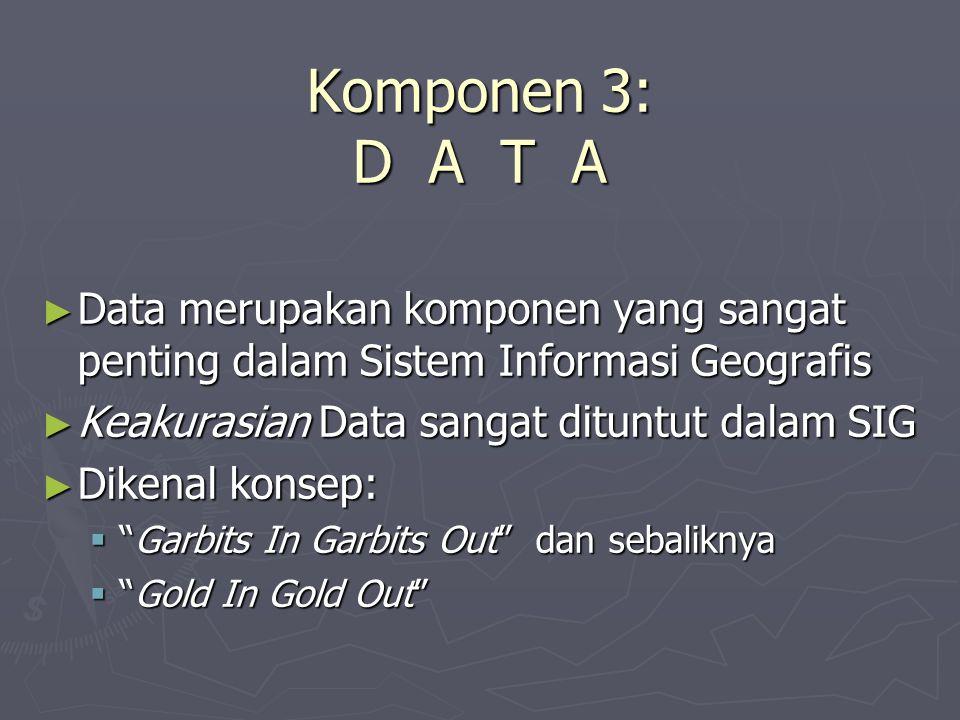 Komponen 3: D A T A ► Data merupakan komponen yang sangat penting dalam Sistem Informasi Geografis ► Keakurasian Data sangat dituntut dalam SIG ► Dike