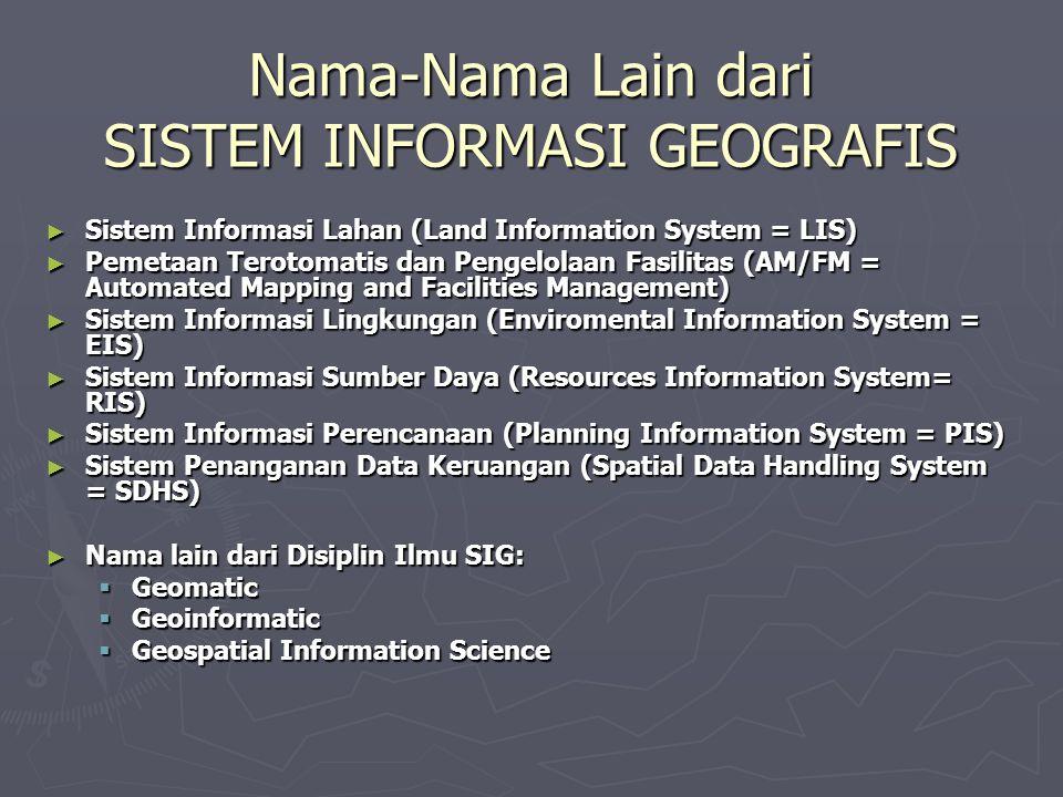 Nama-Nama Lain dari SISTEM INFORMASI GEOGRAFIS ► Sistem Informasi Lahan (Land Information System = LIS) ► Pemetaan Terotomatis dan Pengelolaan Fasilit