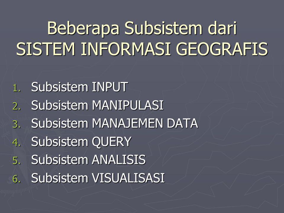 Subsistem INPUT: ► Subsistem ini meliputi pengumpulan dan persiapan data spasial dengan atribut dari berbagai sumber.