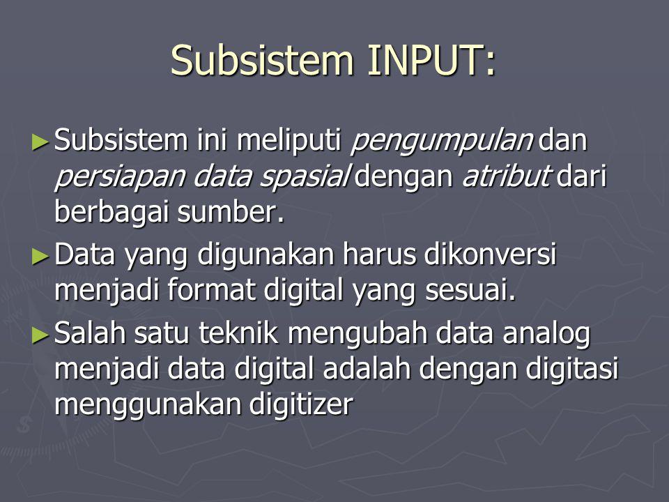 Subsistem MANIPULASI DATA: ► Subsistem ini meliputi penyesuaian terhadap data Masukan untuk diproses lebih lanjut, misalnya:  Penyamaan skala  Pengubahan sistem proyeksi  Generalisasi,  dll