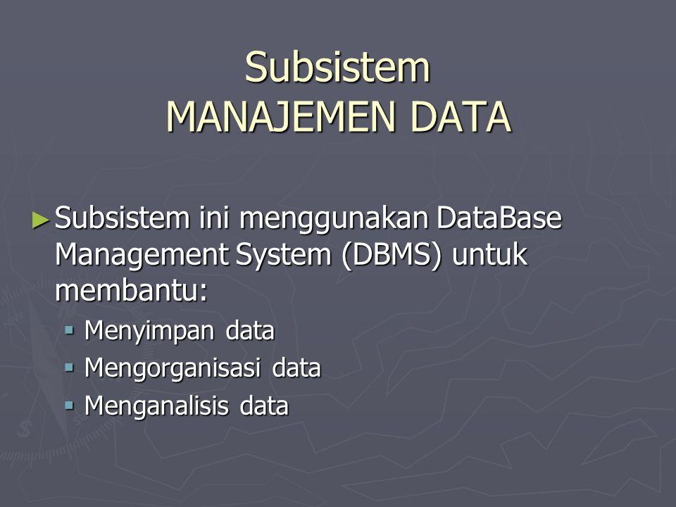 Subsistem MANAJEMEN DATA ► Subsistem ini menggunakan DataBase Management System (DBMS) untuk membantu:  Menyimpan data  Mengorganisasi data  Mengan