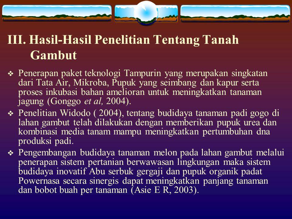 III. Hasil-Hasil Penelitian Tentang Tanah Gambut  Penerapan paket teknologi Tampurin yang merupakan singkatan dari Tata Air, Mikroba, Pupuk yang seim