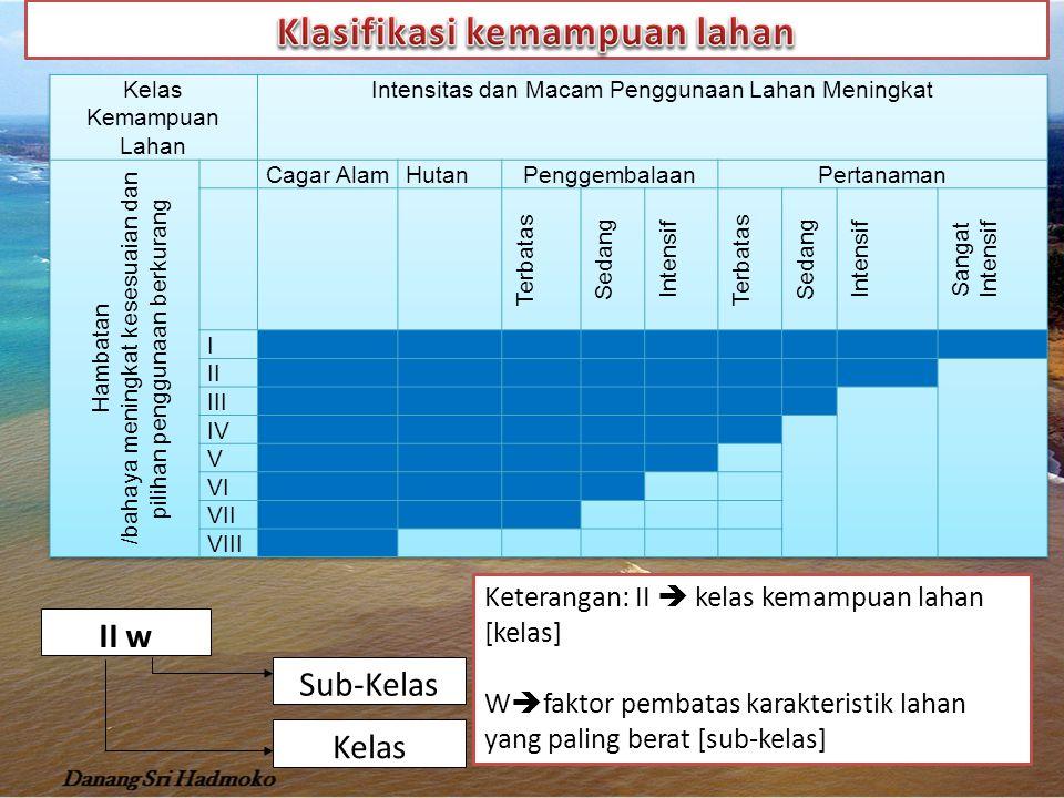 Struktur klasifikasi kemampuan lahan Kelas KemampuanSub kelas Satuan Pengelolaan Satuan Peta Tanah Dapat Digarap Kemampuan I IIIIc : iklimIIe - 1Seri X IIIIIe: erosiIIe - 2Seri Y IVIIw: kelembabanIIe - 3Seri Z IIs : tanah IIes V Tidak dapat digarap VI VII VIII