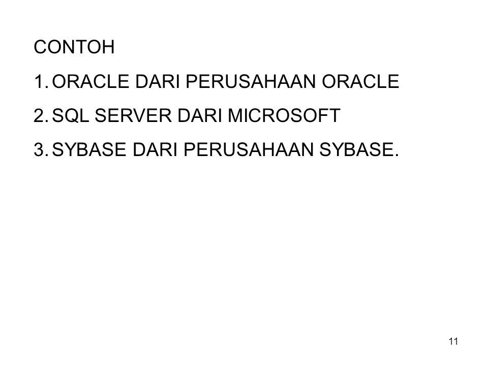11 CONTOH 1.ORACLE DARI PERUSAHAAN ORACLE 2.SQL SERVER DARI MICROSOFT 3.SYBASE DARI PERUSAHAAN SYBASE.