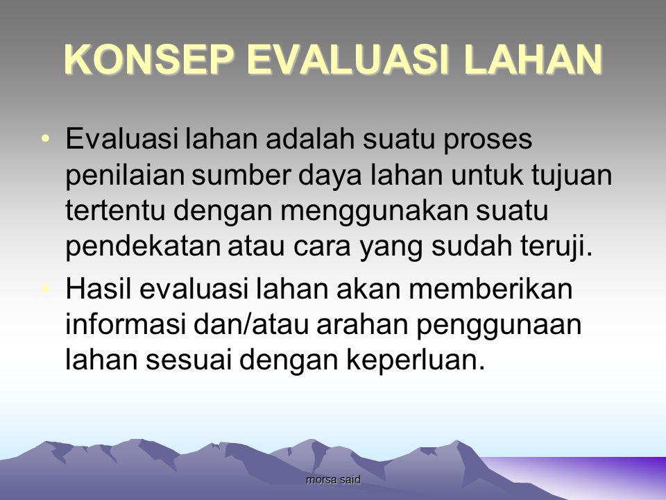 morsa said KONSEP EVALUASI LAHAN Evaluasi lahan adalah suatu proses penilaian sumber daya lahan untuk tujuan tertentu dengan menggunakan suatu pendekatan atau cara yang sudah teruji.