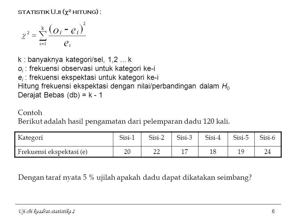 Uji chi kuadrat-statistika 2 6 statistik Uji (  ² hitung) : k : banyaknya kategori/sel, 1,2... k o i : frekuensi observasi untuk kategori ke-i e i :
