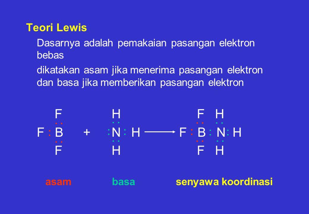 Teori Lewis Dasarnya adalah pemakaian pasangan elektron bebas dikatakan asam jika menerima pasangan elektron dan basa jika memberikan pasangan elektron FH F H F B+N H F B N H FH F H asam basa senyawa koordinasi.........................
