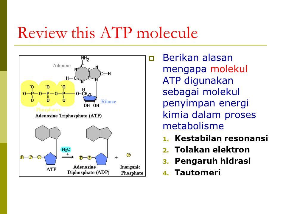 Review this ATP molecule  Berikan alasan mengapa molekul ATP digunakan sebagai molekul penyimpan energi kimia dalam proses metabolisme 1. Kestabilan