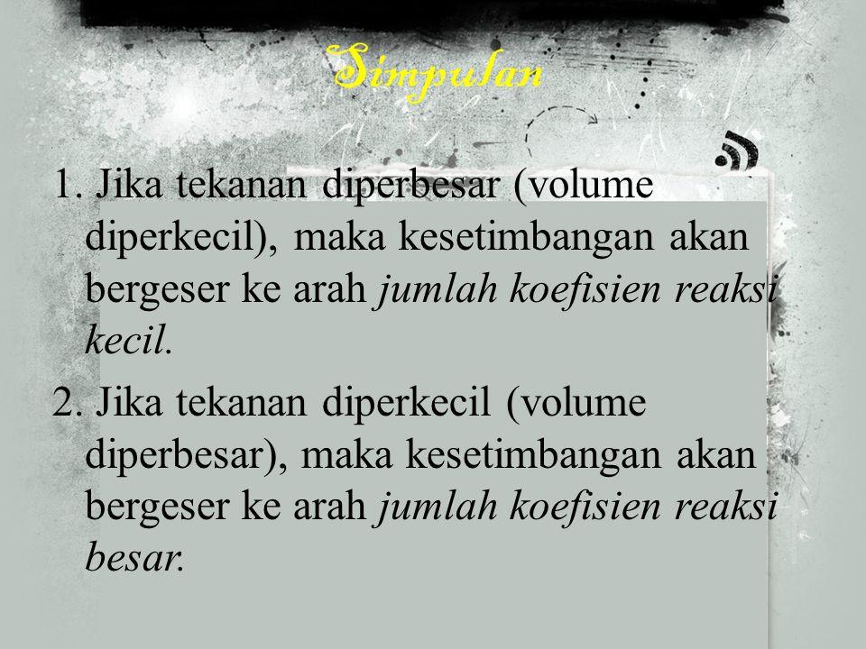 Faktor Volume Jika volume sistem dinaikkan, kesetimbangan akan bergeser ke arah jumlah mol terbesar (ke kiri) Jika volume sistem diturunkan, kesetimbanagn akan bergeser ke arah jumlah mol terkecil (ke kiri)