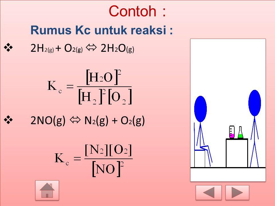 1. Tetapan kesetimbangan berdasarkan konsentrasi (Kc) Harga K c adalah hasil kali konsentrasi zat – zat hasil reaksi dibagi dengan hasil kali konsentr