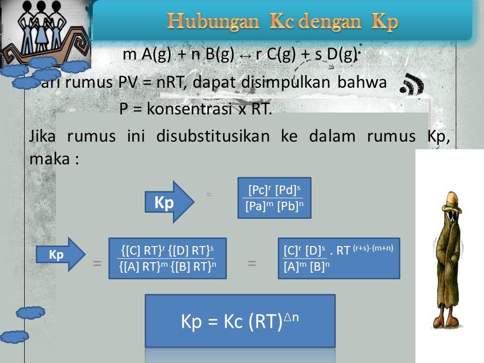 Keterangan Kp = tetapan kesetimbangan tekanan gas PA = tekanan parsial gas A (atm) = mol A mol total PB = tekanan parsial gas B (atm) = mol B mol total PC = tekanan parsial gas C (atm) = mol C mol total PD = tekanan parsial gas D (atm) = mol D mol total x P total