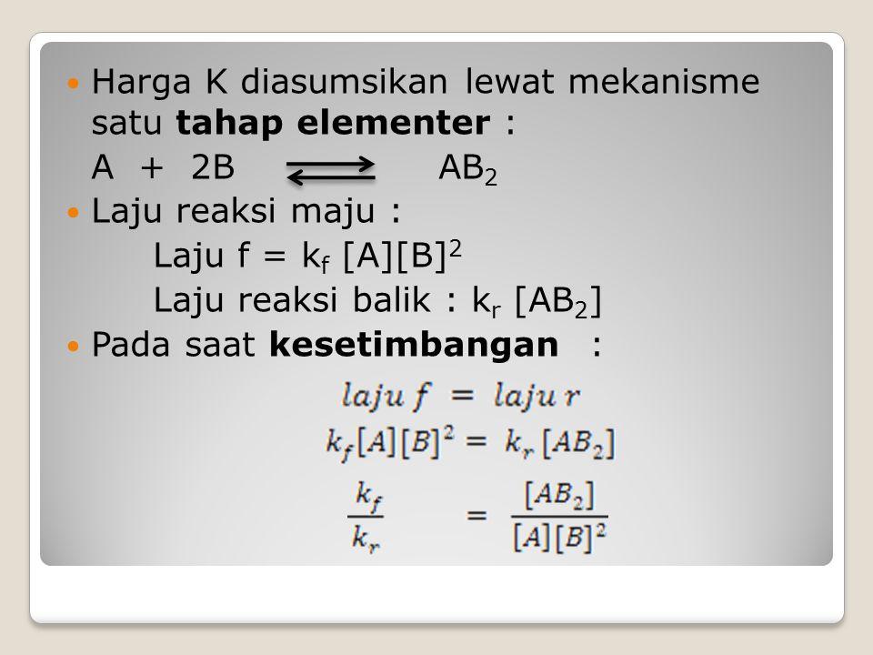 Harga K diasumsikan lewat mekanisme satu tahap elementer : A + 2B AB 2 Laju reaksi maju : Laju f = k f [A][B] 2 Laju reaksi balik : k r [AB 2 ] Pada s