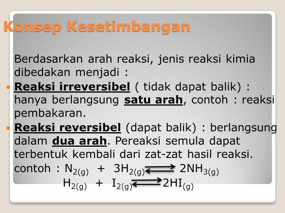 Konsep Kesetimbangan Berdasarkan arah reaksi, jenis reaksi kimia dibedakan menjadi : Reaksi irreversibel ( tidak dapat balik) : hanya berlangsung satu