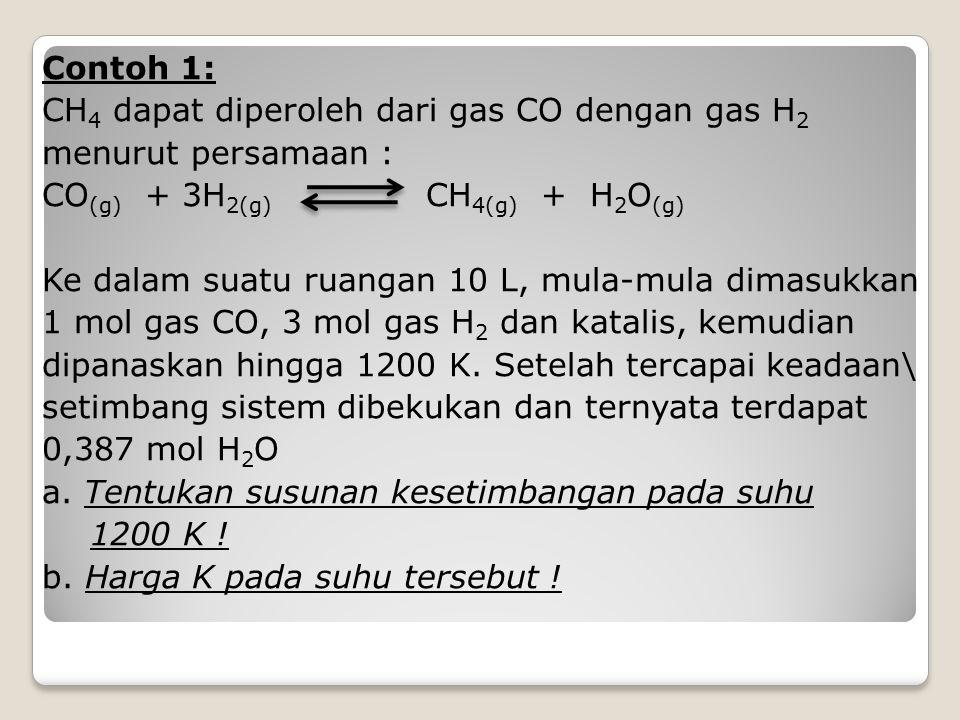 Contoh 1: CH 4 dapat diperoleh dari gas CO dengan gas H 2 menurut persamaan : CO (g) + 3H 2(g) CH 4(g) + H 2 O (g) Ke dalam suatu ruangan 10 L, mula-m