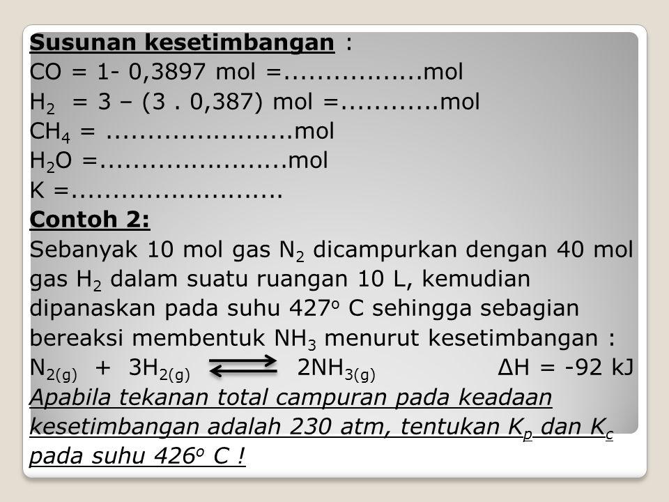 Susunan kesetimbangan : CO = 1- 0,3897 mol =.................mol H 2 = 3 – (3. 0,387) mol =............mol CH 4 =.......................mol H 2 O =...