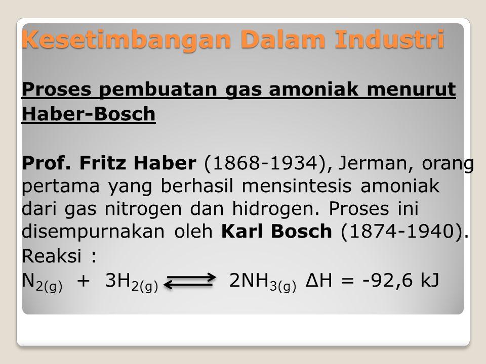 Kesetimbangan Dalam Industri Proses pembuatan gas amoniak menurut Haber-Bosch Prof. Fritz Haber (1868-1934), Jerman, orang pertama yang berhasil mensi