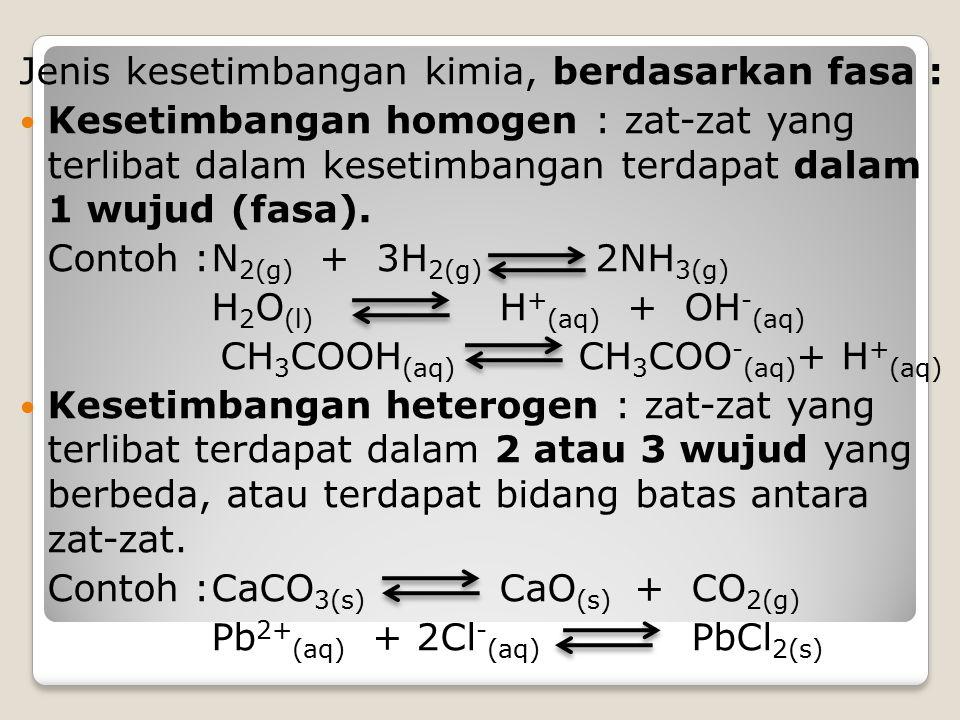 Jenis kesetimbangan kimia, berdasarkan fasa : Kesetimbangan homogen : zat-zat yang terlibat dalam kesetimbangan terdapat dalam 1 wujud (fasa). Contoh