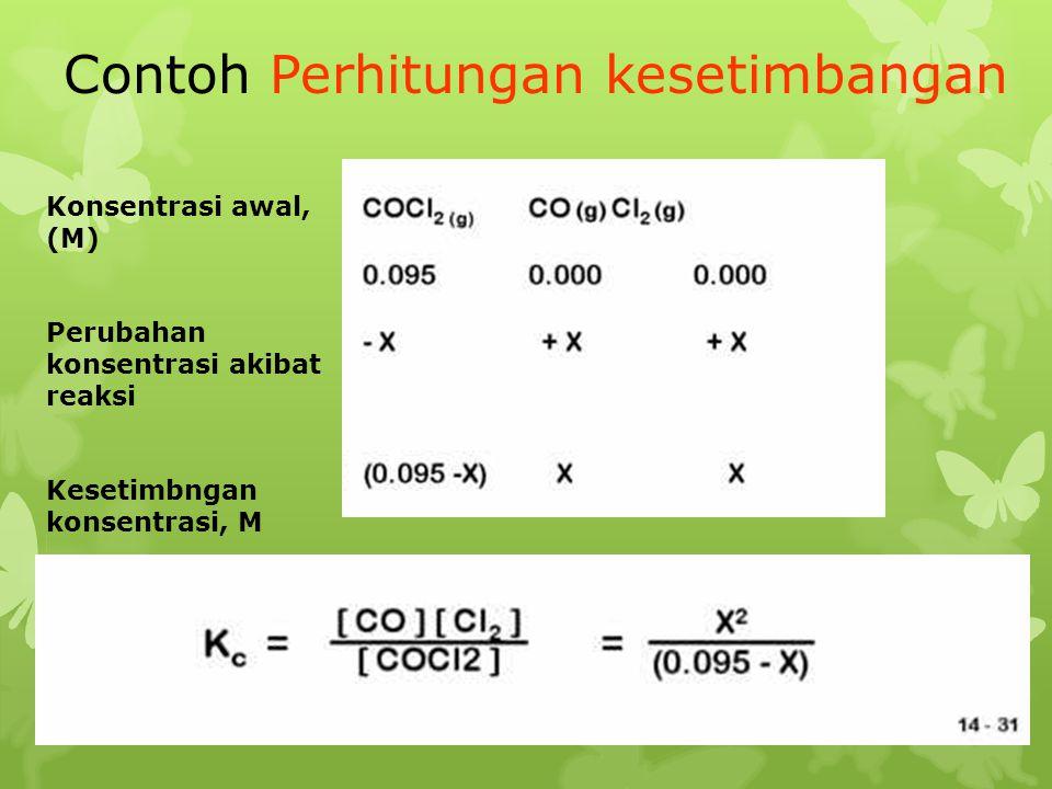 Contoh Perhitungan kesetimbangan Konsentrasi awal, (M) Perubahan konsentrasi akibat reaksi Kesetimbngan konsentrasi, M
