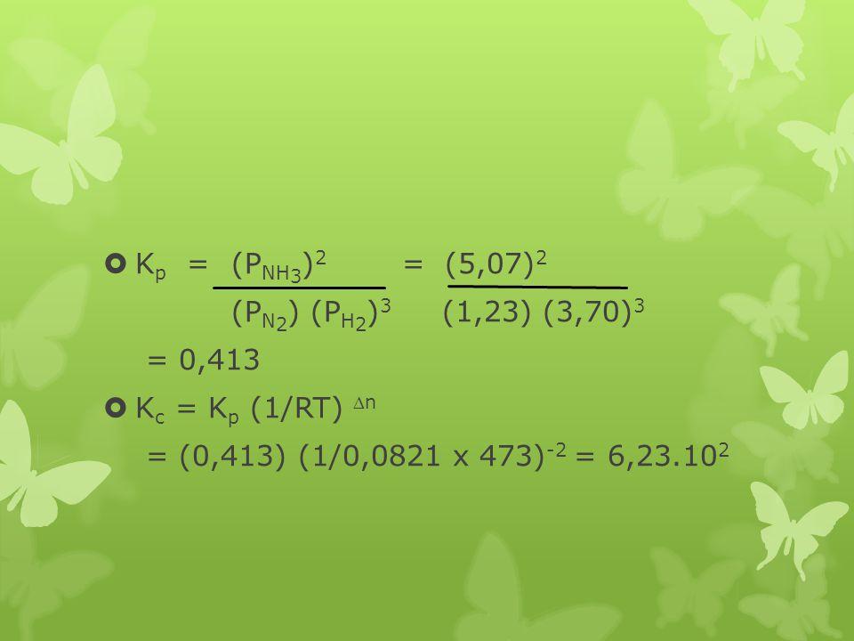  K p = (P NH 3 ) 2 = (5,07) 2 (P N 2 ) (P H 2 ) 3 (1,23) (3,70) 3 = 0,413  K c = K p (1/RT) n = (0,413) (1/0,0821 x 473) -2 = 6,23.10 2