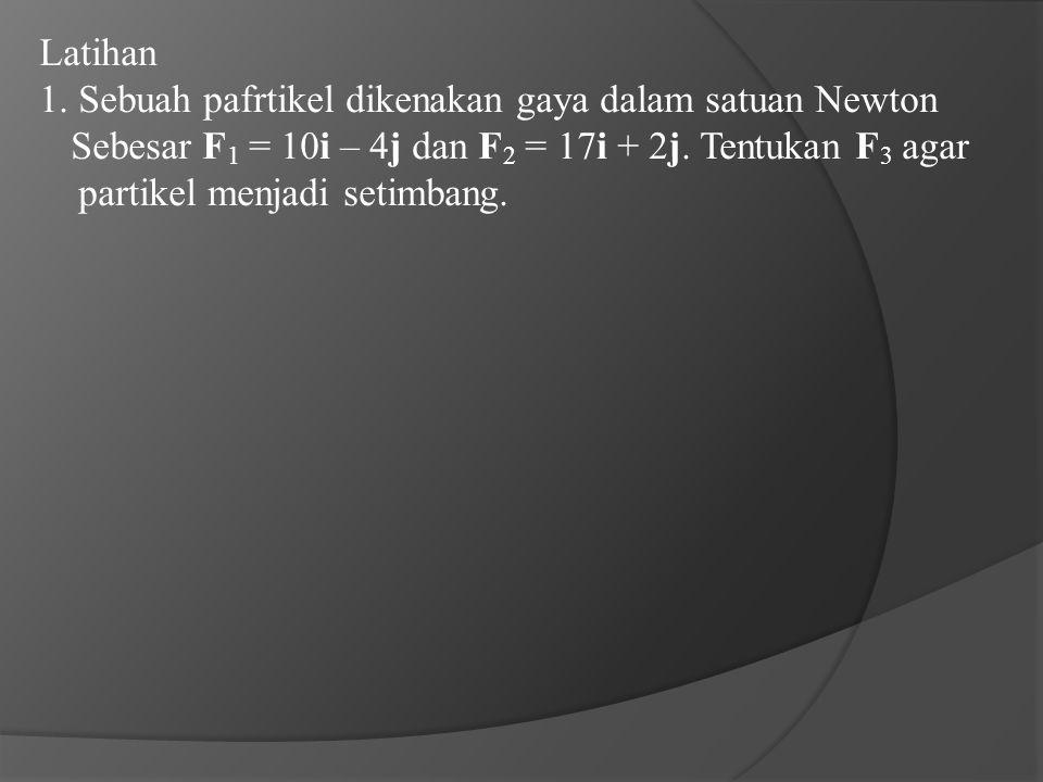 Latihan 1. Sebuah pafrtikel dikenakan gaya dalam satuan Newton Sebesar F 1 = 10i – 4j dan F 2 = 17i + 2j. Tentukan F 3 agar partikel menjadi setimbang