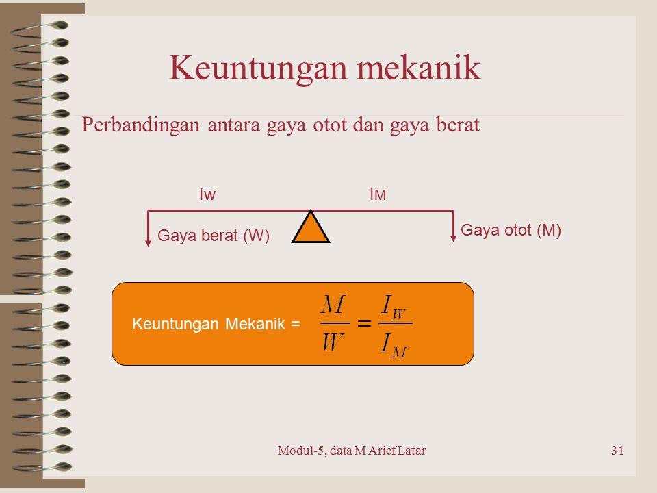 Modul-5, data M Arief Latar31 Keuntungan mekanik Perbandingan antara gaya otot dan gaya berat Gaya berat (W) Gaya otot (M) IwIMIM Keuntungan Mekanik =