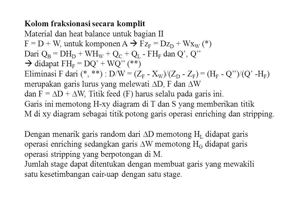 Kolom fraksionasi secara komplit Material dan heat balance untuk bagian II F = D + W, untuk komponen A  Fz F = Dz D + Wx W (*) Dari Q B = DH D + WH W