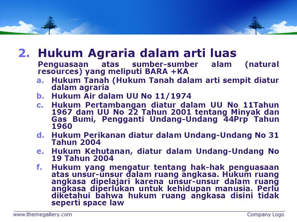 2.Hukum Agraria dalam arti luas Penguasaan atas sumber-sumber alam (natural resources) yang meliputi BARA +KA a.Hukum Tanah (Hukum Tanah dalam arti se