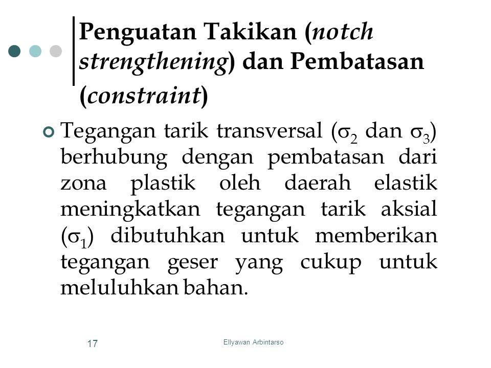 Ellyawan Arbintarso 17 Penguatan Takikan ( notch strengthening ) dan Pembatasan ( constraint ) Tegangan tarik transversal (  2 dan  3 ) berhubung de