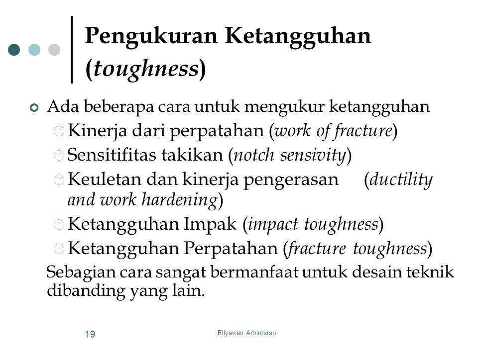 Ellyawan Arbintarso 19 Pengukuran Ketangguhan ( toughness ) Ada beberapa cara untuk mengukur ketangguhan  Kinerja dari perpatahan ( work of fracture