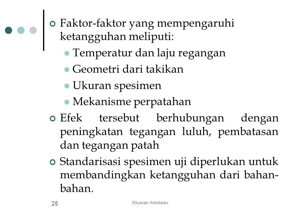 Ellyawan Arbintarso 25 Faktor-faktor yang mempengaruhi ketangguhan meliputi: Temperatur dan laju regangan Geometri dari takikan Ukuran spesimen Mekani