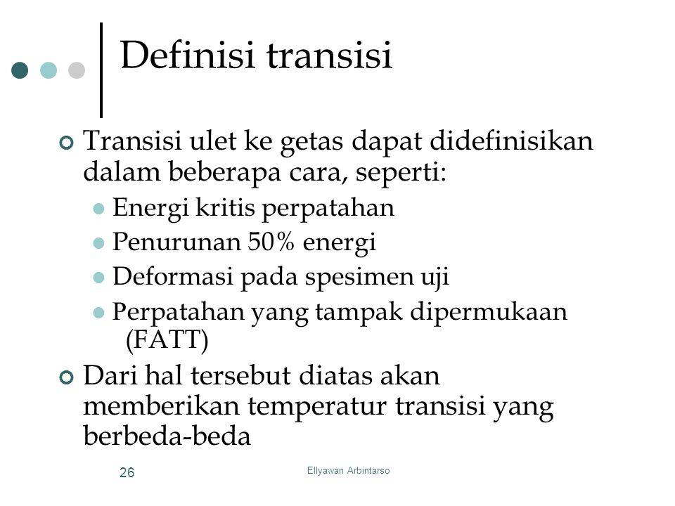 Ellyawan Arbintarso 26 Definisi transisi Transisi ulet ke getas dapat didefinisikan dalam beberapa cara, seperti: Energi kritis perpatahan Penurunan 5