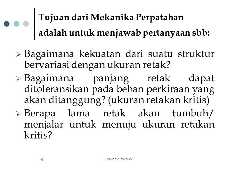 Ellyawan Arbintarso 6 Tujuan dari Mekanika Perpatahan adalah untuk menjawab pertanyaan sbb:  Bagaimana kekuatan dari suatu struktur bervariasi dengan