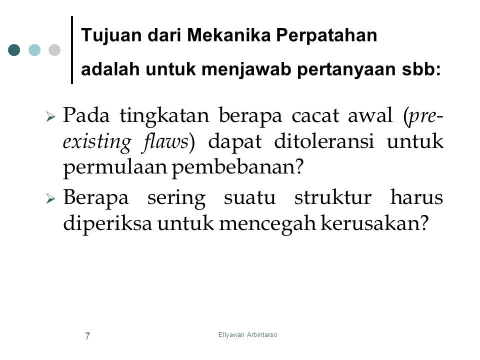 Ellyawan Arbintarso 7  Pada tingkatan berapa cacat awal ( pre- existing flaws ) dapat ditoleransi untuk permulaan pembebanan?  Berapa sering suatu s