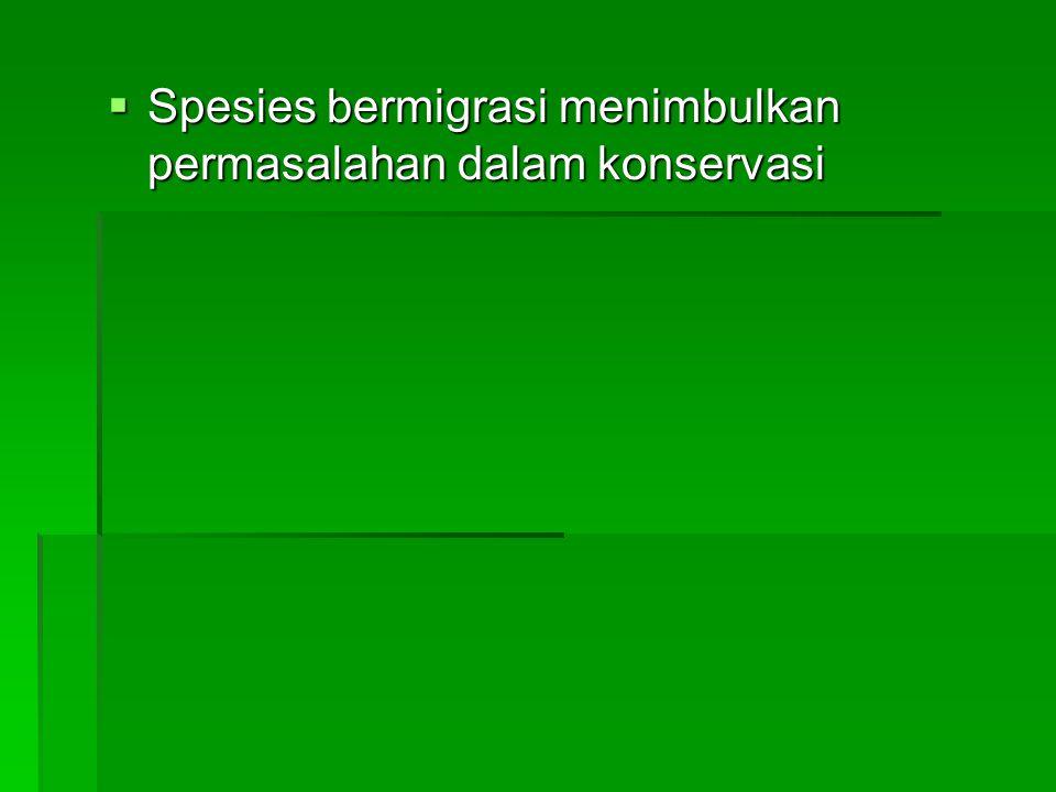  Spesies bermigrasi menimbulkan permasalahan dalam konservasi