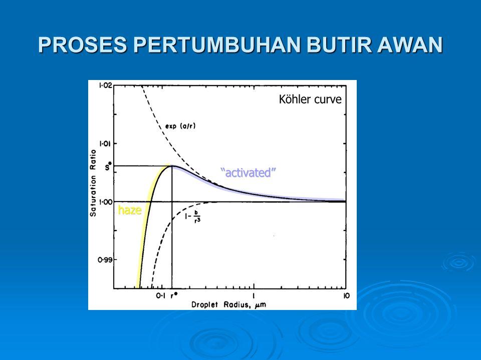  RH , butir akan tumbuh hingga mencapai keseimbangan kembali, proses ini dapat berlangsung terus hingga melewati RH 100%.