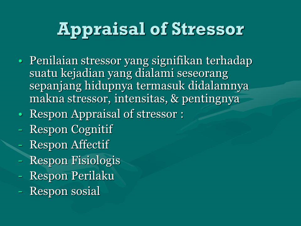 Appraisal of Stressor Penilaian stressor yang signifikan terhadap suatu kejadian yang dialami seseorang sepanjang hidupnya termasuk didalamnya makna s