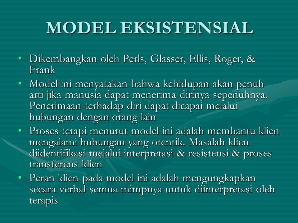 MODEL EKSISTENSIAL Dikembangkan oleh Perls, Glasser, Ellis, Roger, & FrankDikembangkan oleh Perls, Glasser, Ellis, Roger, & Frank Model ini menyatakan
