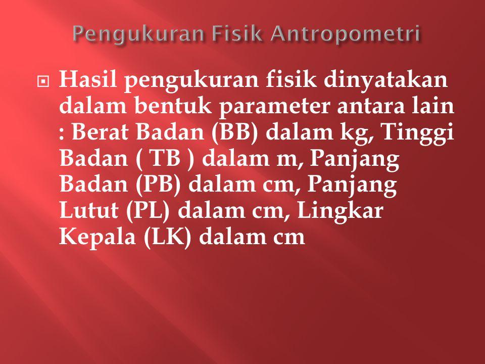  Hasil pengukuran fisik dinyatakan dalam bentuk parameter antara lain : Berat Badan (BB) dalam kg, Tinggi Badan ( TB ) dalam m, Panjang Badan (PB) dalam cm, Panjang Lutut (PL) dalam cm, Lingkar Kepala (LK) dalam cm